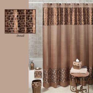 Olive Green And Brown Shower Curtain