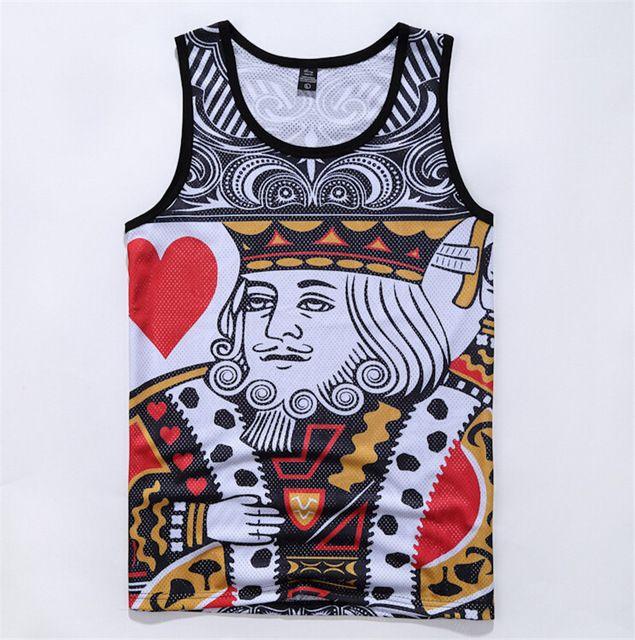 Harajuku tank tops 3D print Playing cards K/Q basketball vest sleeveless tee shirts summer style clothing free shipping