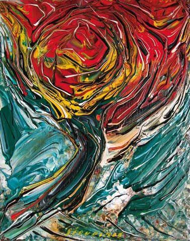 Looks like van Gogh's brush work ~ esp. at the end of his life: Árbol Rojo, David Alfaro Siqueiros (1967).  Art Experience NYC  www.artexperiencenyc.com