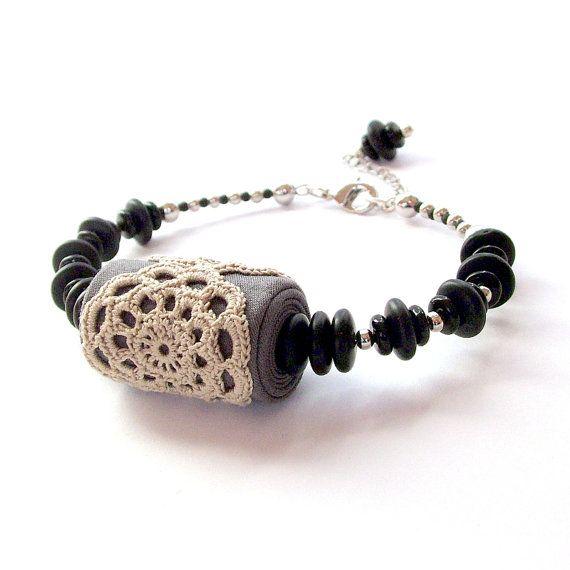 Lace jewelry - beaded fabric bracelet in beige, grey and black / fabric jewelry / fine jewelry / crochet lace bracelet /  ecru lace