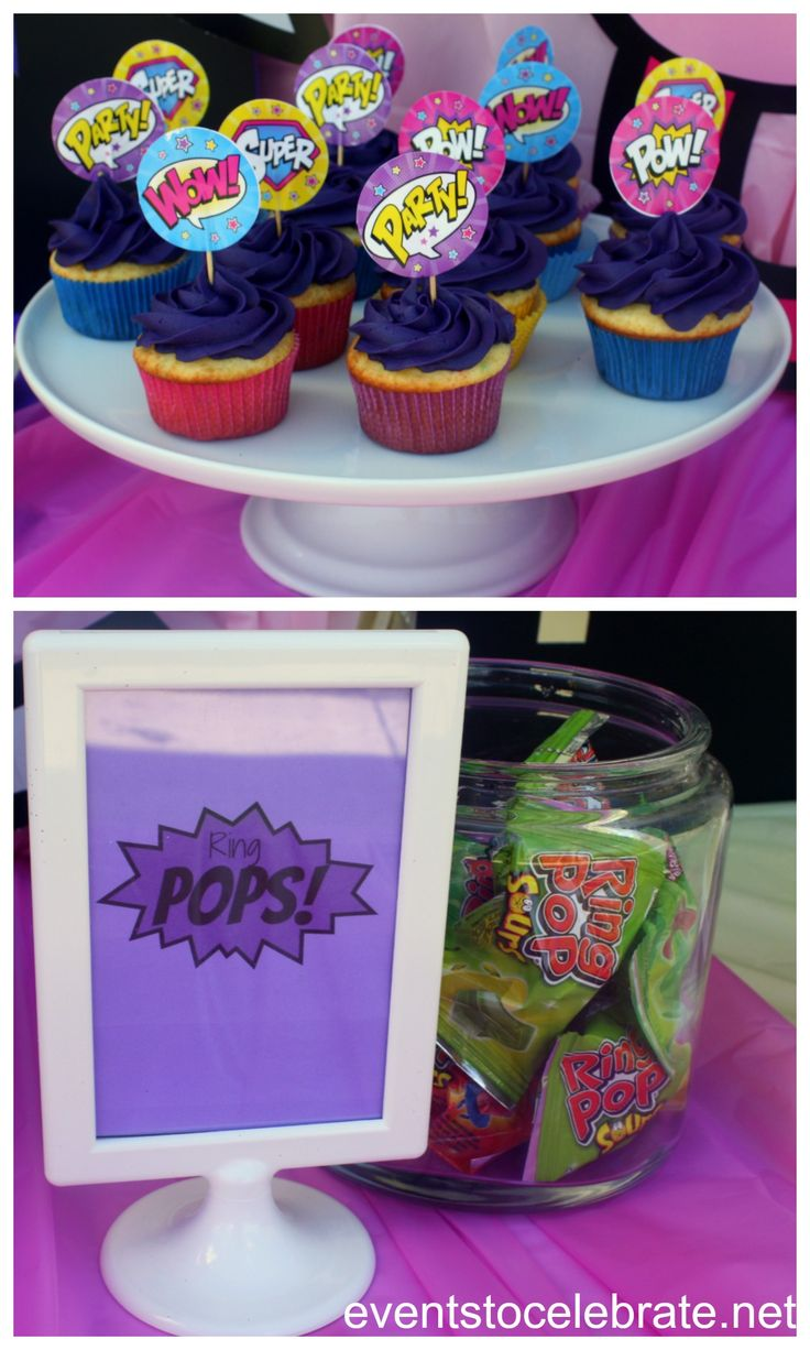 Superhero Girl Birthday Party Food - free printables - events to CELEBRATE!