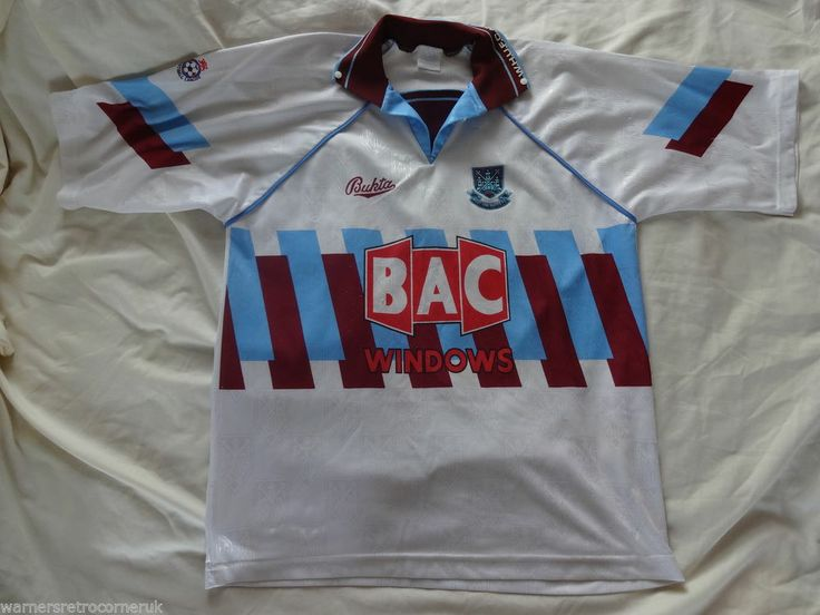 Vintage Authentic west ham United XL Bukta Away 1991 - 92 Football Soccer shirt