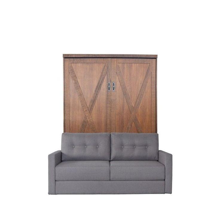 RoomAndLoft Queen Factory Sofa-Murphy Bed in Reclaimed Brown Finish and Heather Tweed Fabric