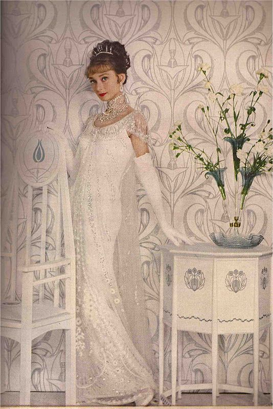 Audrey Hepburn, costumed and photographed by Cecil Beaton, Harper's Bazaar April 1964. Henry Higgins's mother's house was an Arts and Crafts dream!