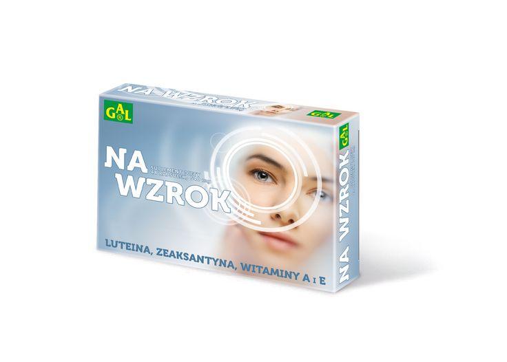 NA WZROK GAL // Preparat przeznaczony jest dla osób pracujących przy komputerze, prowadzących pojazdy po zmroku, narażonych na pracę w złym oświetleniu, odczuwających zmęczenie oczu, dla osób starszych. Zawiera luteinę, zeaksantynę, cynk, witaminy C, E i A.  // http://tiny.pl/q3xgb