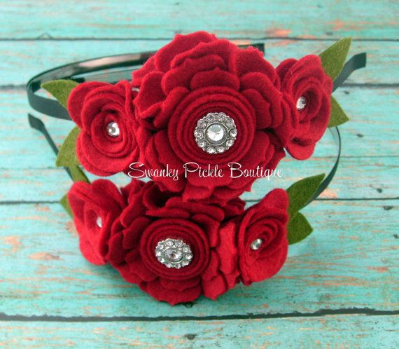 Felt Flower - Red Rose Headband - Valentines Day - Wool Felt - Baby Toddler Girl Headband-  Christmas Headband - Holiday Headband