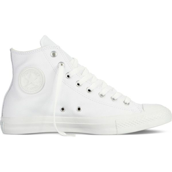 converse shoes high tops white. converse chuck taylor all star leather \u2013 white sneakers ($70) ❤ liked on polyvore shoes high tops