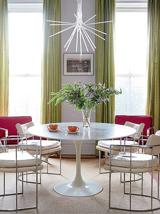 table white leather dining chairs hot pink slipper chairs and lime green curtains serve as a