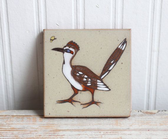 Hand Painted Road Runner Decorative Art Tile Cleo Teissedre Southwestern Decor Tile Brown Bird Coaster or Trivet by MollyFinds - a Vesties Team Shop. Find it now at http://ift.tt/1SGjGnn! #vestiesteam