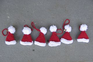 Santa Hat Ornaments - free knitting pattern on Ravelry