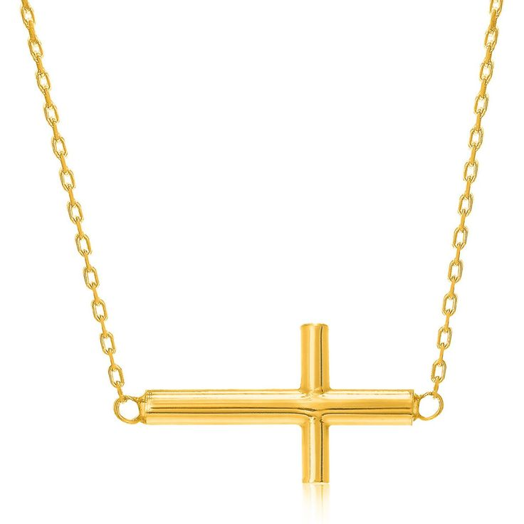 Solid 14k Yellow Gold Side Cross Necklace