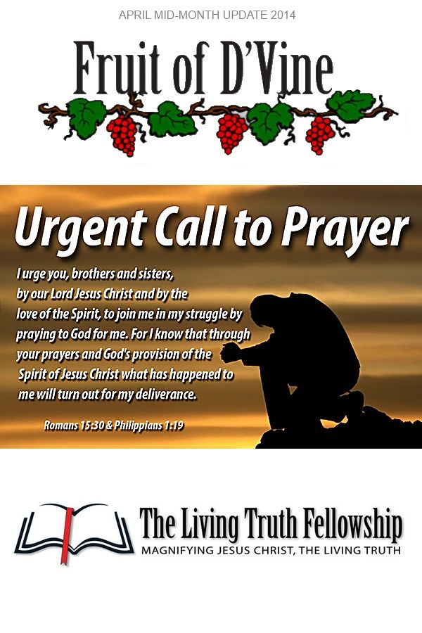 Please Read the details John Lynn's Prayer request & Update:  http://eepurl.com/SygDH #FruitofDvine