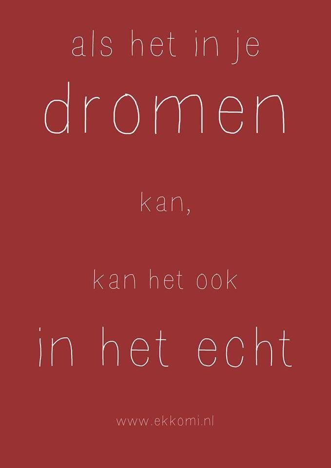 Als het in je dromen kan, kan het ook in het echt. www.ekkomi.nl