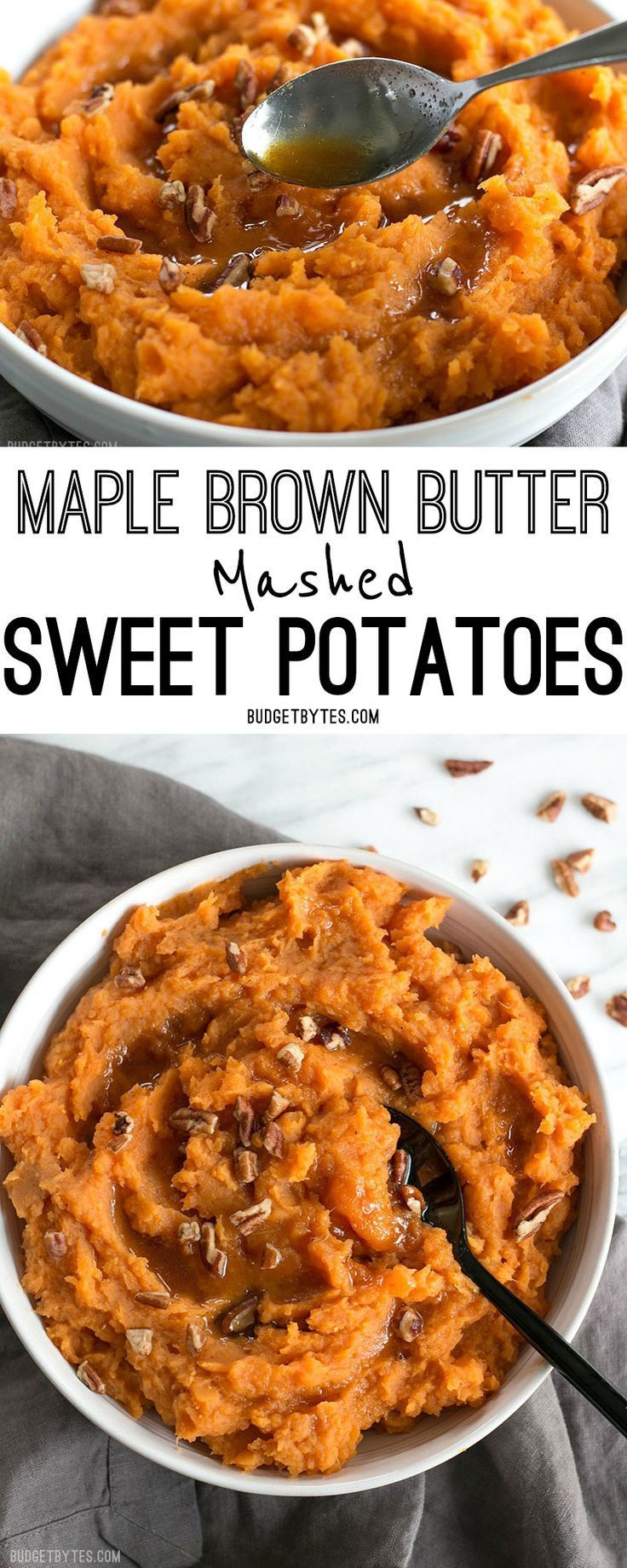 Maple Brown Butter Mashed Sweet Potatoes are a simple way to add a little something extra special to your Thanksgiving table. @budgetbytes