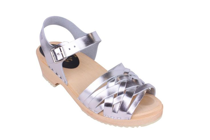 Lotta From Stockholm Womens Low Heel Braided Wooden Clogs in Silver Leather