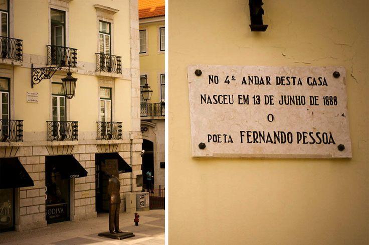 Fachada do prédio em que nasceu Fernando Pessoa e placa de homenagem ao fato, no Chiado/ DEZ lugares marcantes na vida de Fernando Pessoa em Lisboa