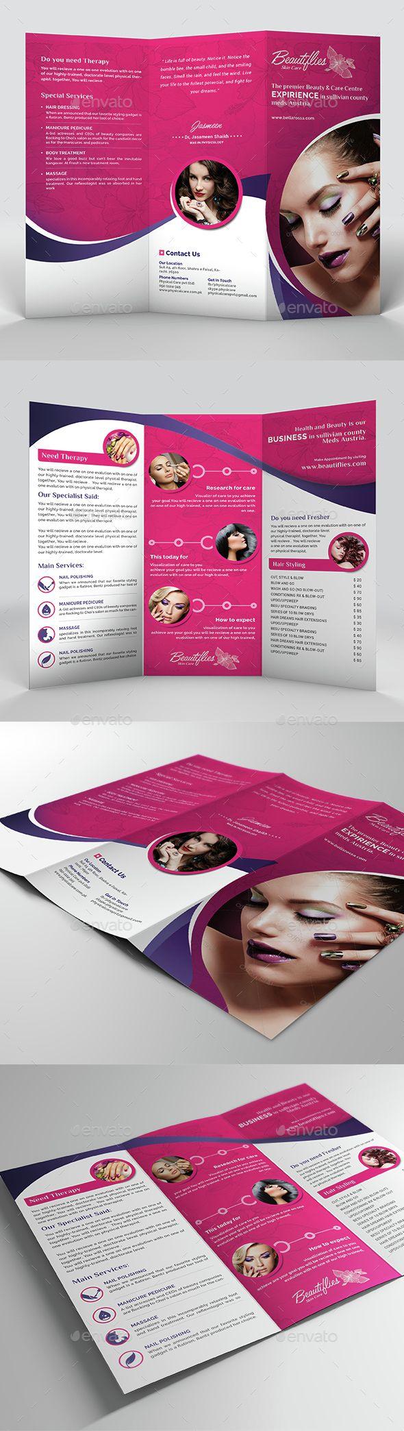 Beauty salon trifold brochure brochure template for Beauty brochure templates