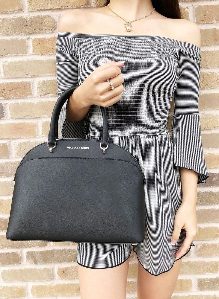 039598d3eb9416 NWT Michael Kors Emmy Large Cindy Dome Satchel Crossbody Black Top Zip  Handbag #MichaelKors #Satchel #Handbagsmichaelkors