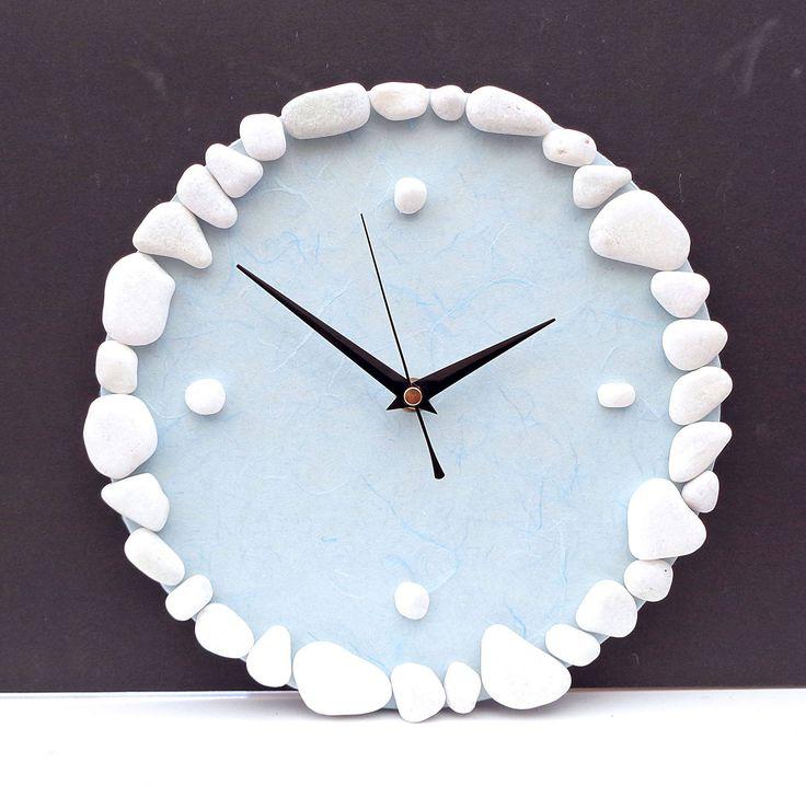 Pebble Wall Clock Beach Nautical Clock Natural Stone Clock