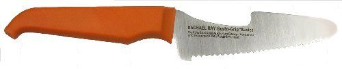 Furi Rachael Ray Gusto Grip Basics 5-Inch Sammy Sandwich Knife by Rachael Ray. $9.99. Polypropylene and rubber handle with finger groove and nonslip reverse-wedge shape. Do not wash in dishwasher. limited lifetime warranty covers manufacturing and material defects on all of our products.. 5-inch serrated sandwich knife with flat spreader, rounded tip, and cut-out shape for full jar access. Cut-out design allows scraping under the rim of most jars. The round tooth serrations are p...