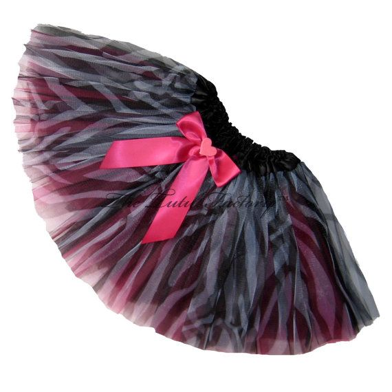 HOT PINK ZEBRA Tutu with Bow . Girls Teens by TutuFactoryUSA