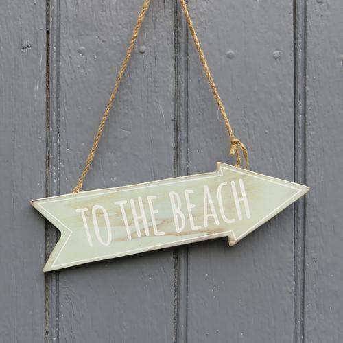 Plaque en bois - To the Beach citation Vacances Mer Plage Surf Décoration patiné