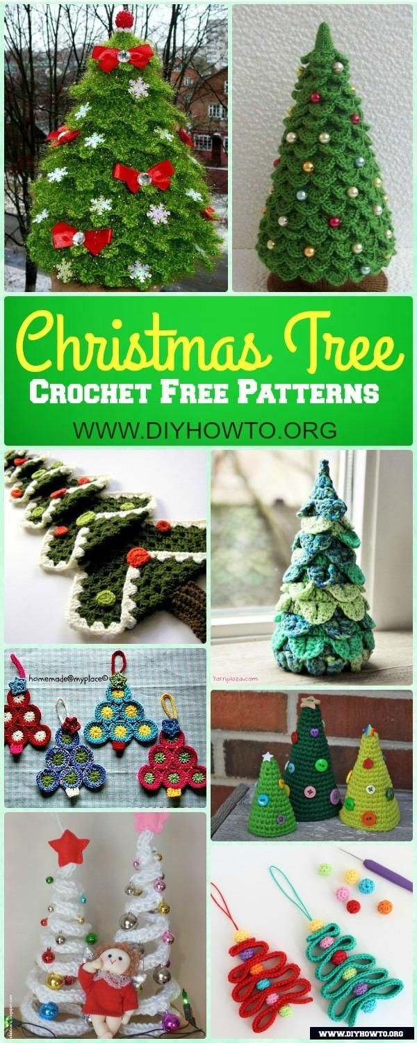 Wonderful Collection of Mini Crochet Christmas Tree Free Patterns for Holiday Decoration via @diyhowto #Crochet