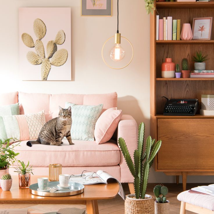 amazing dreamy pink couch to complement pink and green home decor and plants maisons du monde. Black Bedroom Furniture Sets. Home Design Ideas