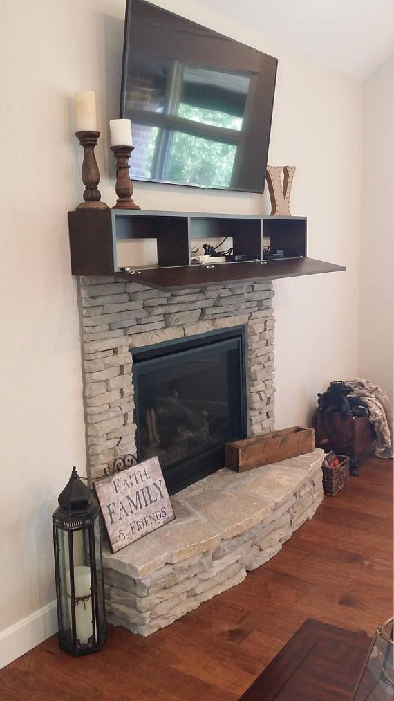 Custom Fireplace Mantel With Drop Front Shelf Media