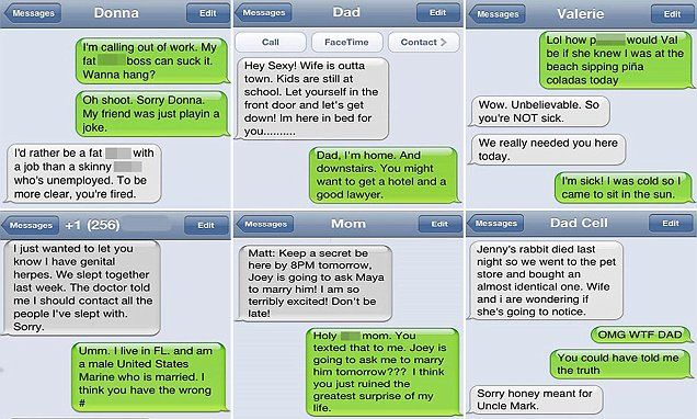 Hilarious texts show what happens when you message the WRONG person
