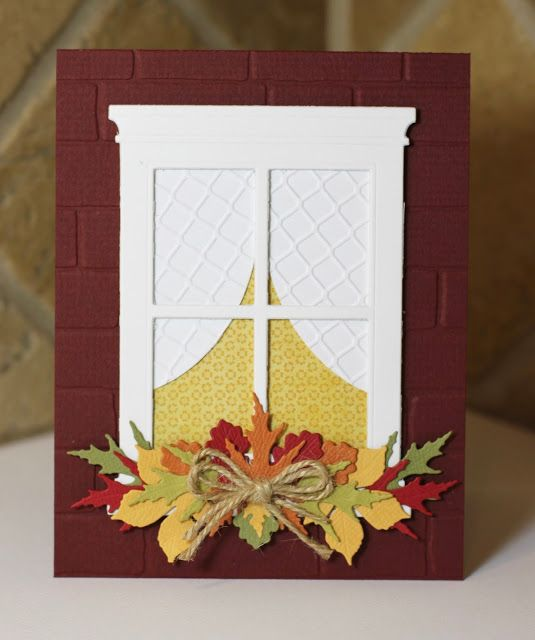 handmade Autumn card from What's Next? .. all die cuts .. windframe with curtains inside ... Fall leaves window box ... topeed with a perfectly tied twine bow ....