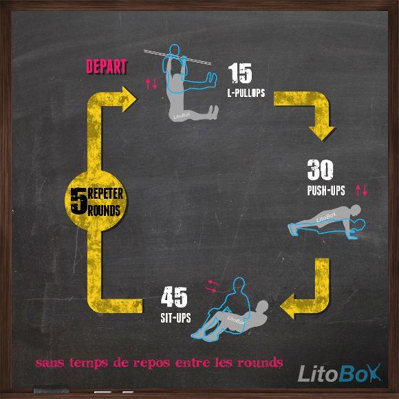 Entraînement CrossFit au poids de corps : 5 rounds for time de : 15 L-pullups (tractions en L), 30 pompes, 45 abdos