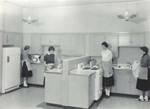 Just like our old Home Economics cooking classes. We had sewing class too (as well as woodshop and metalshop).Kitchens, Middle Schools, Remember This, Home Economics, Childhood Memories, Economics Class, Cooking, Ec Class, High Schools