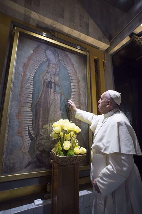 Pope Francis praying before the image of Our Lady of Guadaluope, Mexico, 2016