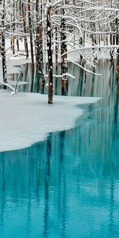 Blue Pond & Spring Snow, Biei, Hokkaido, Japan