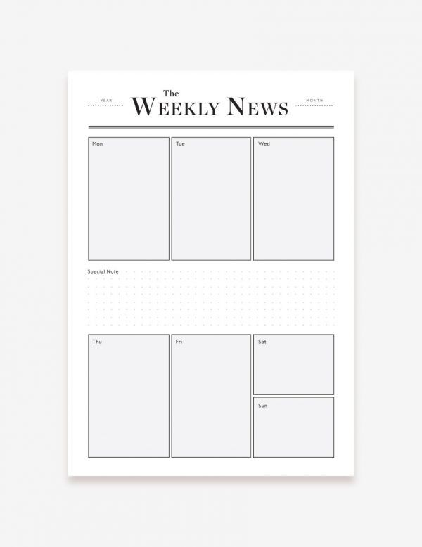 Printable Weekly Planner. Shop this printable at www.inatondesign.com
