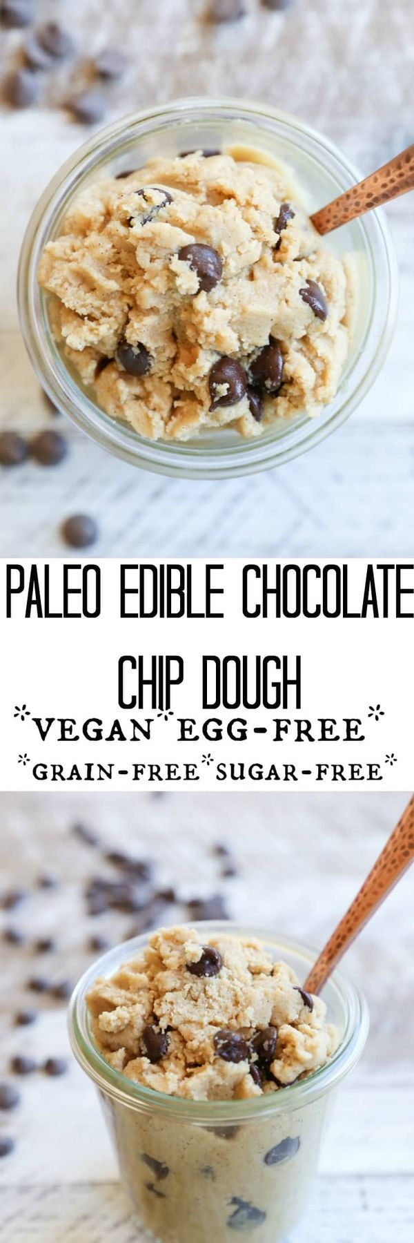 If you've been looking for a health for you edible chocolate chip cookie dough, then you'll want to make this yummy Paleo Chocolate Chip Edible Cookie Dough dessert recipe that is also vegan and gluten-free!
