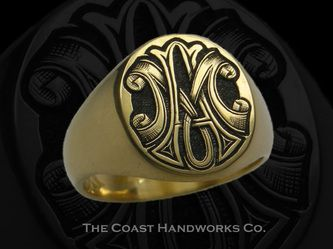 Custom Signet Rings and Signet Ring Engraving from The Coast Handworks Co.Deeply Carved Monogram
