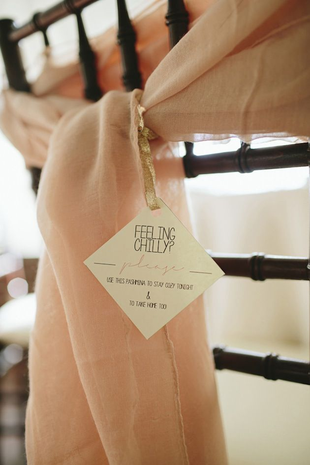 pashminas wrapped around chair backs as favors | Brooke Courtney Photography