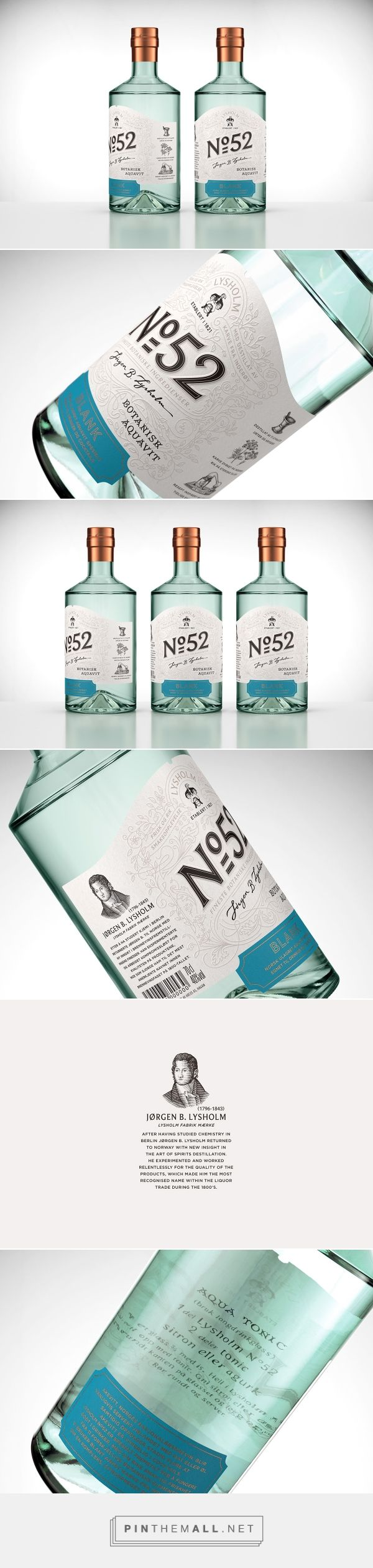Art direction, branding and packaging for Lysholm N52 Botanisk Aquavit on Behance by OlssønBarbieri Oslo, Norway curated by Packaging Diva PD. Named after an original recovered recipe developed especially for cocktails with 11 different botanical elements.