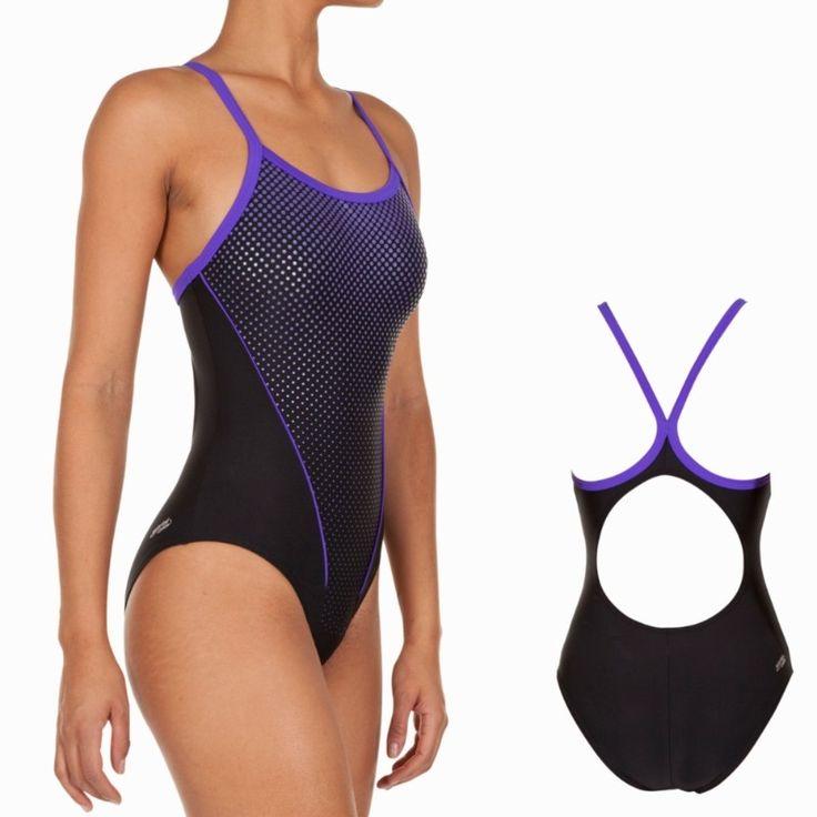 47,95€ - Maillots femme - Maillot natation femme 1 pièce Arena Mixou noir / violet - ARENA