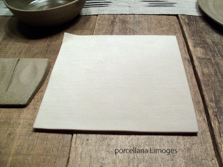 dish in porcelain with linen texture