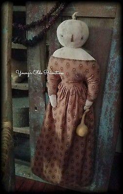 Primitive-Pumpkin-Girl-Cupboard-Hanger-Doll-Fall-Halloween-JOL
