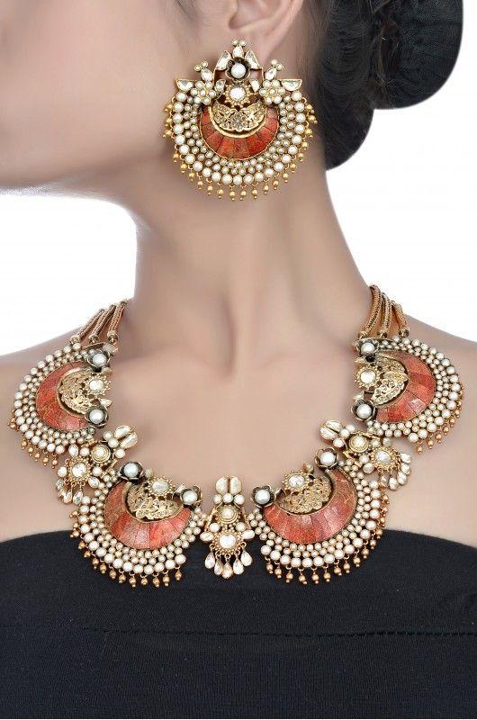 Silver Multistone Crescent Necklace Set