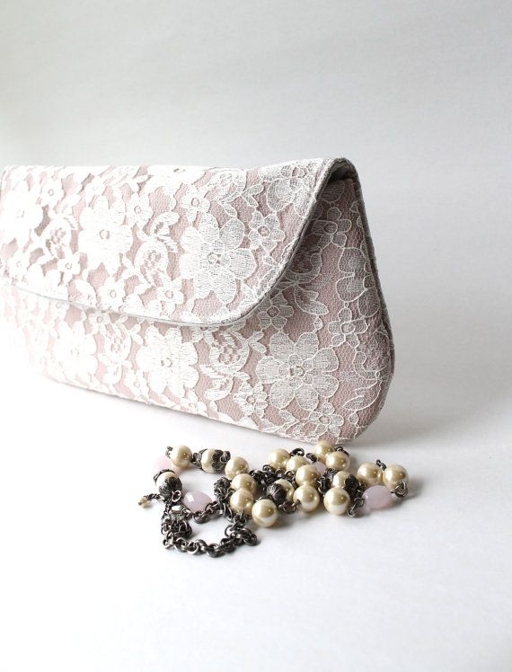 Gorgeous shop for cosmetic bags // Lace Bridesmaid Clutch in Blush Pink and Ivory, Wedding Clutch Purse