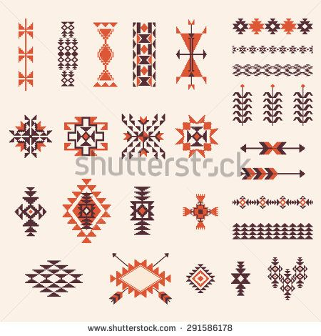 Native american navajo aztec pattern vector elements design set