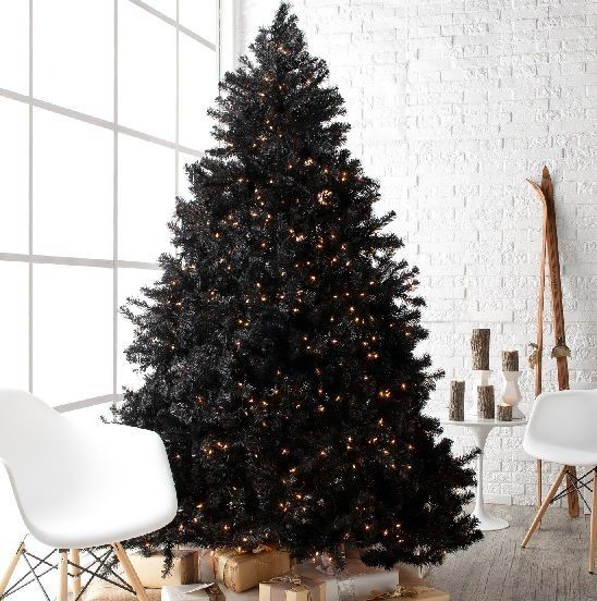 7.5 Foot Tree Christmas Holiday Black FULL Pre Lit Clear Large Home Decor Pine #75FootTrees