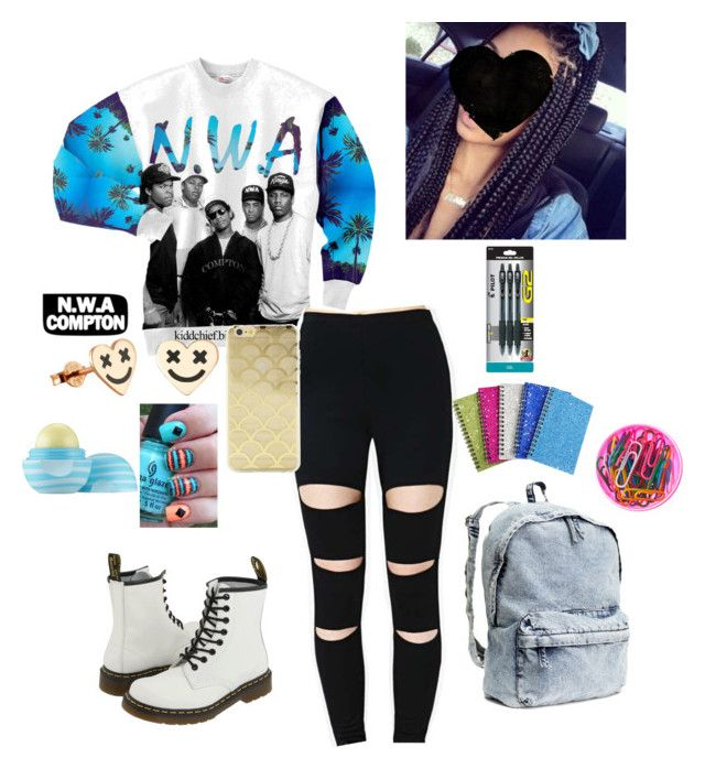"""Coming straight outta Compton"" by kierrathekid ❤ liked on Polyvore featuring Dr. Martens, H&M, Sonix, Eos and Pilot"