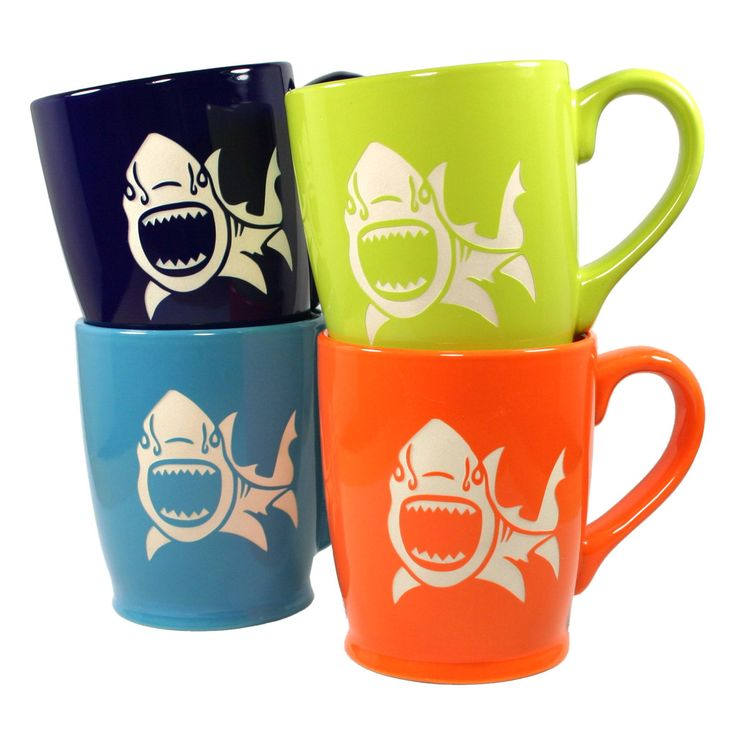 Check out these shark mugs from Bread and Badger!