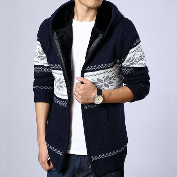 Mens Velvet Thickened Warm Hooded Zipper Sweater Cardigan Coat